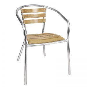Stapelbare aluminium/essenhout stoel-0