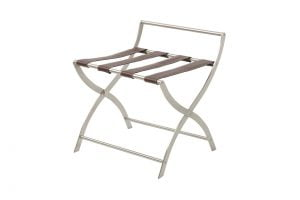 Stainless steel luggage rack with PU leather straps-0