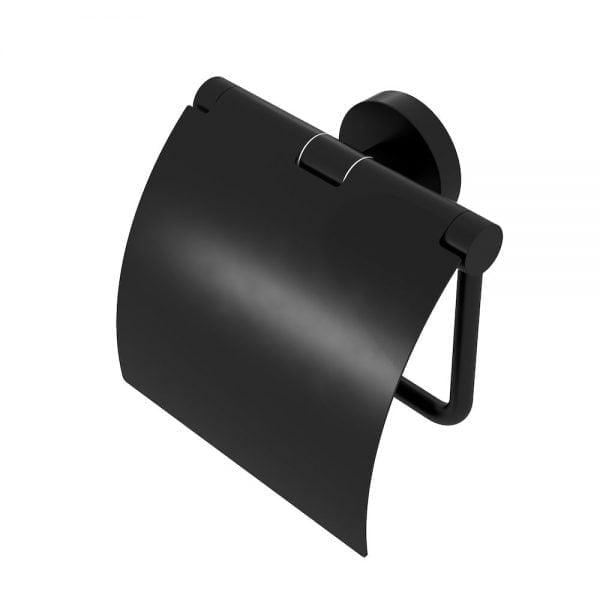 Toiletrolhouder met klep zwart-0